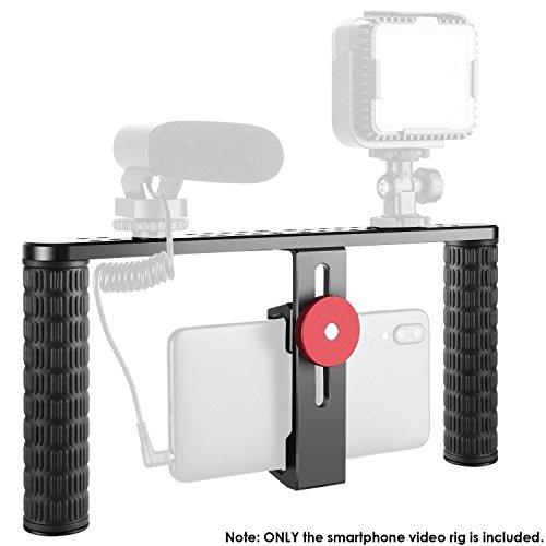 Neewer Metall Smartphone Video Rig Aufzeichnung Vlogging Ausrüstung Gehäuse Handgriff Stabilisator für iPhone xs max Samsung S10 Huawei P30 usw Montage LED Licht Mikrofon