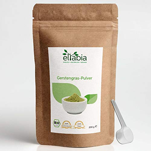 eltabia Poudre d'herbe d'orge bio - 200 g - Pack standard issu de l'agriculture biologique contrôlée - 100 % pure, sans additifs - Qualité alimentaire crue.