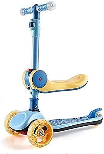 BAIRU monopatín Patinete 3 Ruedas patear Scooter para niños | Diseño Plegable Scooters para niños pequeños sentados o Stand Ride para niños de 2 a 12 años de Edad, Asiento extraíble