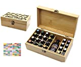 MKNZOME 25 Ranuras Caja de Aceite Esencial de Madera Exhibición Cosmética de Bambú Natural Aceite Contenedor Estante de Presentación Ideal para Perfume y Aceite Perfumado y Esmalte de Uñas#2