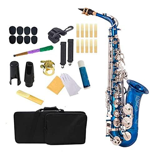 Kit para Principiantes Saxo Blue Silver EB Alto Saxofón Latón Lacado E Piso Sax 802 Tipo De Tecla Instrumento De Viento