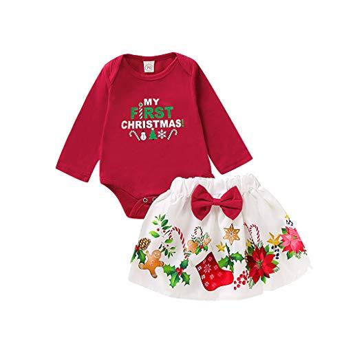 Baby Meisjes Mijn Eerste Kerst Outfit Pasgeboren Baby Kids Xmas Tutu Rok Outfits Kostuum Romper Prinses Jurken Met Hoofdband Peuters 3 Stks Kleding Pak Lange Mouw Feestjurk 0-24 Maanden