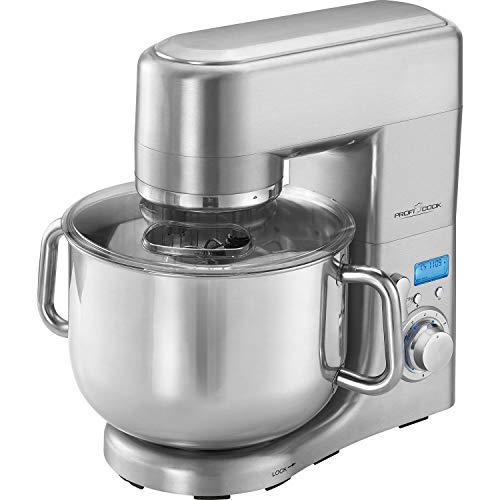 ProfiCook PC-KM 1096 XXXL-Küchenmaschine, 10 Liter Edelstahlschüssel, Alu-Druckguss-Gehäuse, LCD-Display, 1500 Watt, Edelstahl