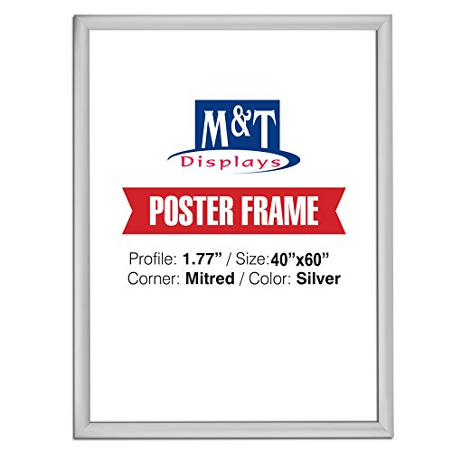 "M&T Displays Snap Frame, 40X60 Poster Size, 1.77"" Silver, Mitered Corner, Front Loading"
