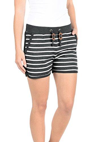 BlendShe Kira Damen Sweatshorts Bermuda Shorts Kurze Hose Mit Fleece-Innenseite Und Streifen-Muster Regular Fit, Größe:S, Farbe:Charcoal (70818)