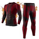 MEETYOO Conjuntos térmicos Hombre, Ropa Interior Térmica Leggings Compresión Camiseta para Esquí Running Ciclismo (Rojo, S)