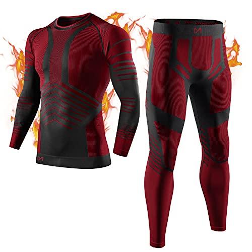 MEETYOO Biancheria Intima Termica Uomo, Intimo Termico Invernale Maglia Termici Pantaloni Base Layer per Sci Corsa Ciclismo (Rosso, XL)