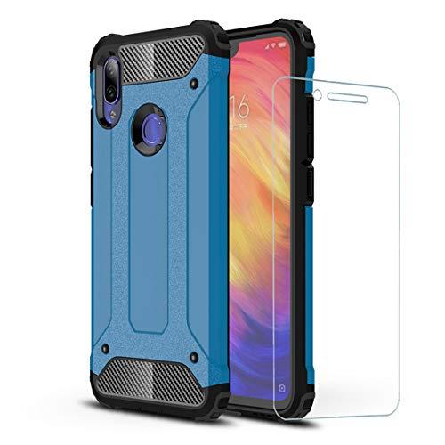 DESCHE compatibile per Cover Xiaomi Redmi Note 7, Hard PC Soft TPU 2 in 1 360 armature protettive Custodia antiurto antigraffio Cassa del telefono durevole + vetro temprato -Blu