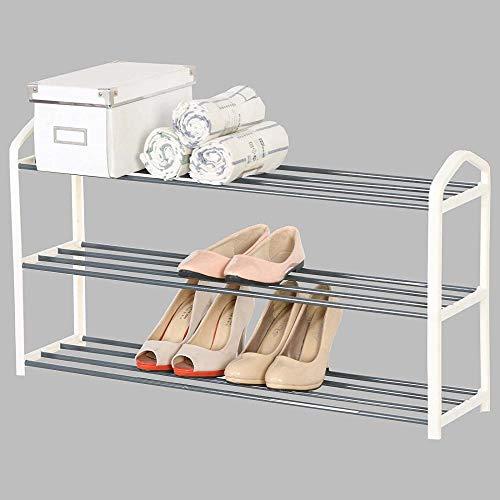 A-Generic Soporte de Bandeja de Zapatos SR0024CM3 Bandeja de Zapatos, 3 Capas para 12 Pares de Zapatos, estantes de Soporte XXL, 79x19.5x45cm, crème-Crema