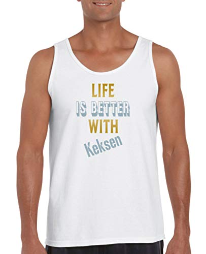 Comedy Shirts - Life is Better with Keksen - Herren Tank-Top - Weiss/Gold-Eisblau Gr. XL