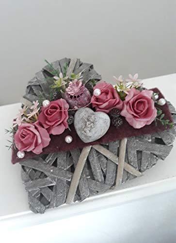 Grabgesteck Herz mit Rosen Grabdeko Gesteck Grab Grabschmuck Urnengrab Engel
