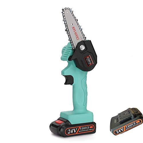 BEAUTTO Mini sierra de podar eléctrica, motosierra portátil inalámbrica, recargable de 24 V, funciona con pilas, herramienta de podadora de jardín, con una sola mano, 0,7 kg de peso ligero