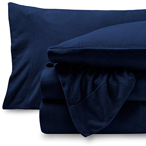 Bare Home Super Soft Fleece Sheet Set - Queen Size - Extra Plush Polar Fleece, Pill-Resistant Bed Sheets - All Season Cozy Warmth, Breathable & Hypoallergenic (Queen, Dark Blue)