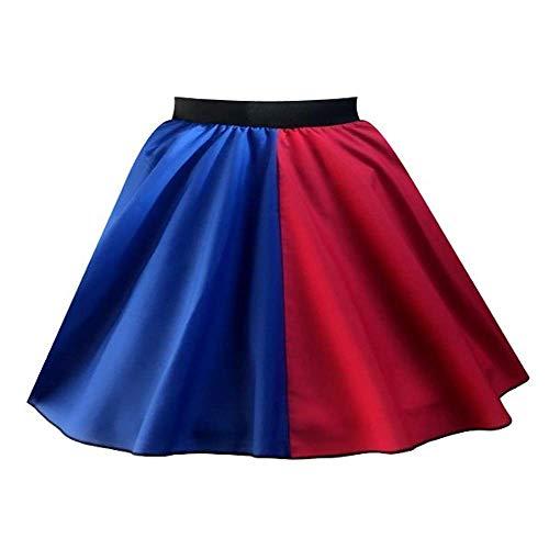 Harley-Rock für Damen, Rot / Blau, 4 Stile – Harlekin-Super-Bösewicht, Halloween-Kostüm Gr. 44, Roter Rock aus Polyester, Blau