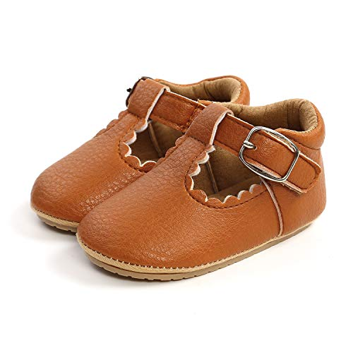 Baby Shoes - ICATHUNY Infant Unisex Baby Girls Shoes PU Leather Soft Anti-Slip Boots Toddlers Newborn Infant Mini Kids Crib Baby Shoes (6-12Months, Brown)
