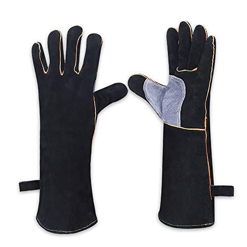 Guantes de soldador de cuero negro con costuras de Kevlar re