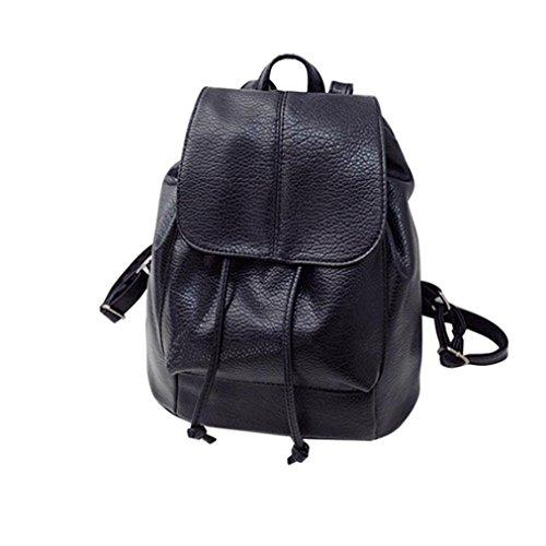 Eenkula Moda Donne Leather Satchel zaino della spalla Scuola Zaino Borse da viaggio, 28*15*28CM (L*W*H) (Nero)
