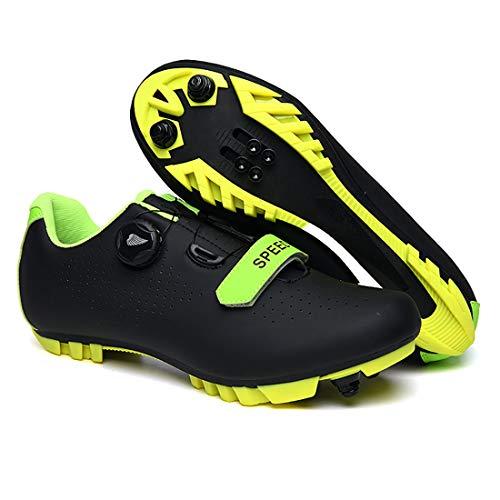 Zapatillas De Ciclismo, Zapatillas De Bicicleta De Montaña Transpirables Y Resistentes Al Viento para Adultos MTB, Zapatillas De Ciclismo con Plantillas Amortiguadoras (45,Negro)