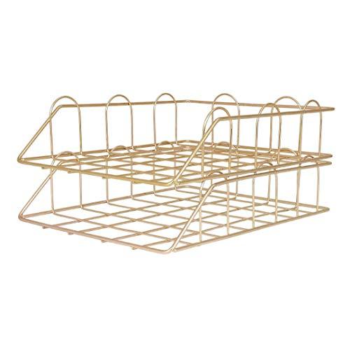 DEDC - Set di 2 vaschette portalettere in metallo, impilabili, per ufficio e ufficio (giallo)