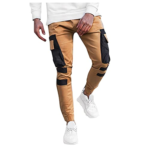 GDJGTA Men Fashion Cargo Pants with Multi Pocket Casual Relaxed Fit Hip Hop Youth Teenager Streetwear (01 Khaki, M)