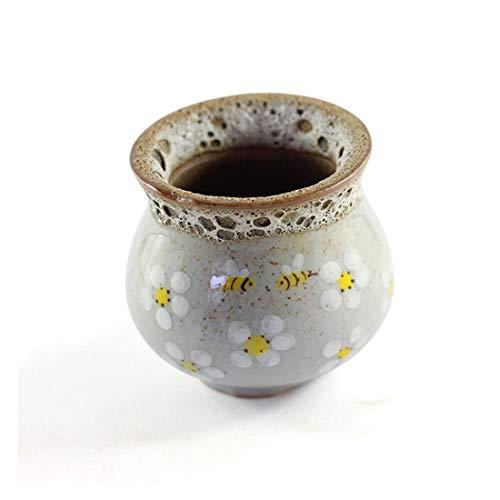 WSJTT Jardineras Exterior, Macetero pequeño de cerámica de jardín suculento Pintado a Mano Individual, macetas Verdes Mini gres