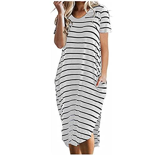 VCAOKF Damska luźna sukienka z okrągłym dekoltem, seksowna sukienka z krótkim rękawem, słodka sukienka na lato, bez rękawów, sukienka kopertowa, sukienka plażowa, dekolt O, sarong, ramiączka spaghetti, elegancka sukienka imprezowa S/M/L/XL/XXL