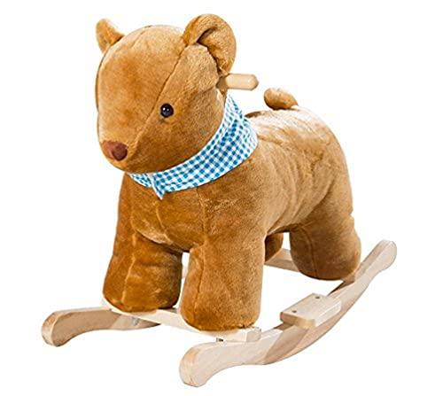 roba ourson à bascule, bois naturel et tissu rembourré, ourson à bascule, convient aux enfants à partir de 18 mois.