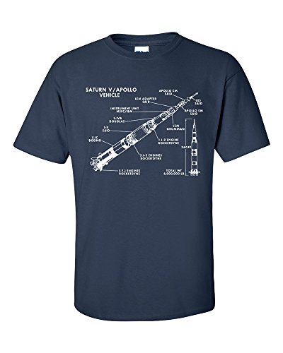 Not Just Nerds Herren Saturn V Rocket Stages Blueprint Apollo Mission 5 T-Shirt (Blau, Large)