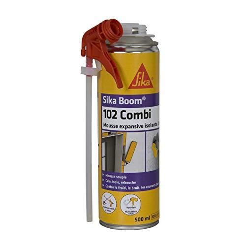 Sika Boom 102 Combi, Mousse polyuréthane expansive réutilisable, Multi Usages, Pistolable ou Manuelle, Forte expansion 20L pour isolation, remplissage grandes cavités sur multi-supports 500ml, Blanc