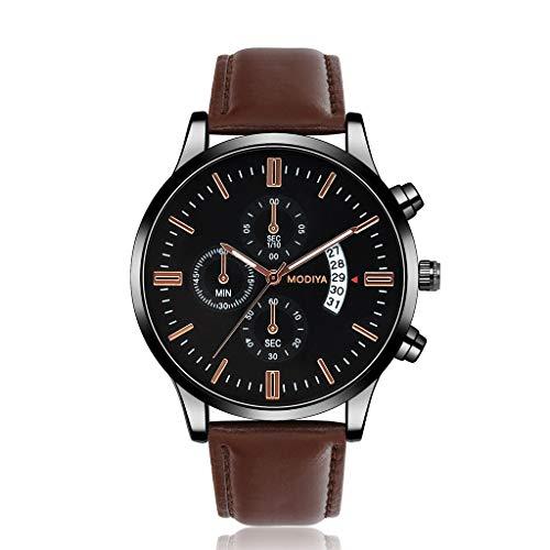 HBR Reloj El Reloj Digital de los Hombres de marcación clásica Grande Impermeable con el Calendario Accesorios de Moda (Color : Brown)
