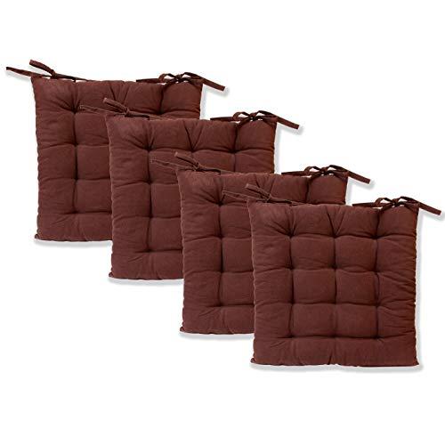 etérea Zitkussen - Ilka stoelkussen serie - vloerkussen met linten voor binnen en buiten, 100% katoen volgens Ökotex 100, verschillende maten en kleuren