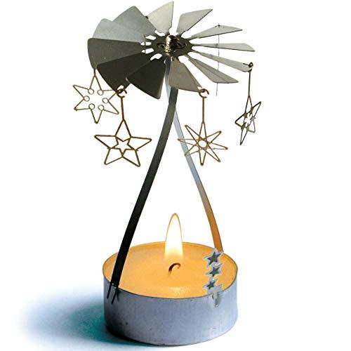 13gramm Étoiles Bougie carrousel Cadeau, Accessoire en Acier Inoxydable 3D y Compris Bougie Chauffe-Plat