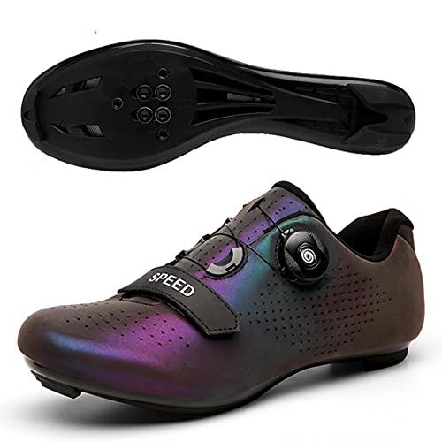 DTKJ Zapatillas de ciclismo para hombres y mujeres Luminosas para montar en carretera Peloton Zapatos transpirables Cleat Compatible SPD Look Delta Indoor Ciclismo Spin Zapatos, color, talla 39 EU