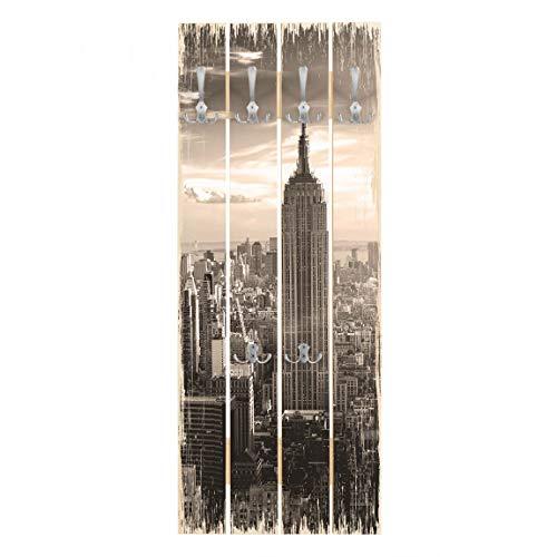 Perchero de Madera Manhattan Skyline, 100x40 cm incl. Ganchos Cromado