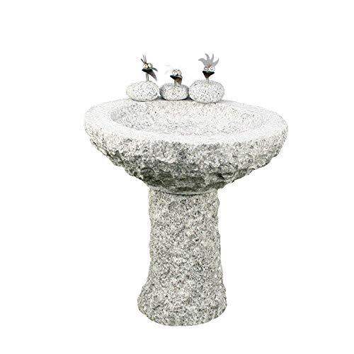Gebrüder Lomprich Vogelbad aus Granit mit Fuß (3 Steinvögel am Rand sitzend)