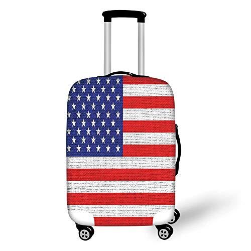 Reizen Bagage Cover Koffer Beschermer, Rustieke Amerikaanse Vlag,Vierde van juli Onafhankelijkheid Dag jute Op zoek Retro Vintage Land Pastel Kleur,voor Reizen