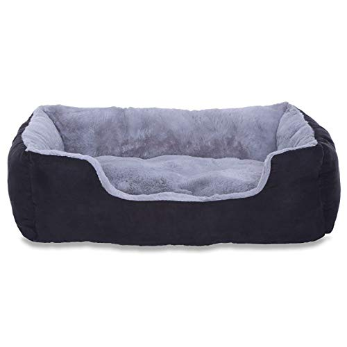 dibea Cama perros cojín perros cesta perros con cojín tamaño (M) 60x48 cm gris/negro