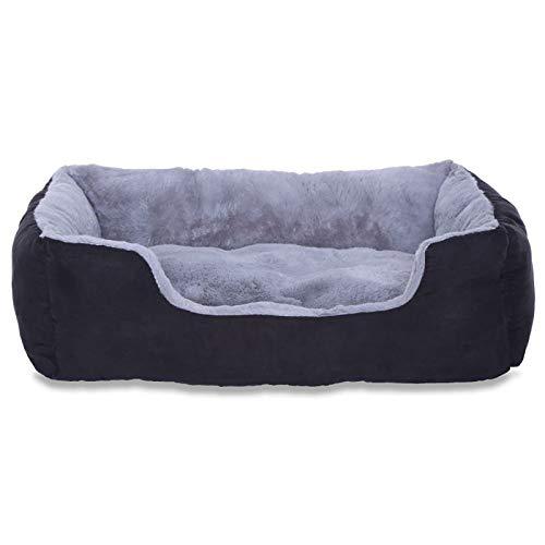 Dibea - Cama para Perros con almohada reversible, 650 g, Gris/Negro, Tamaño M (60 x 48 x 18 cm)