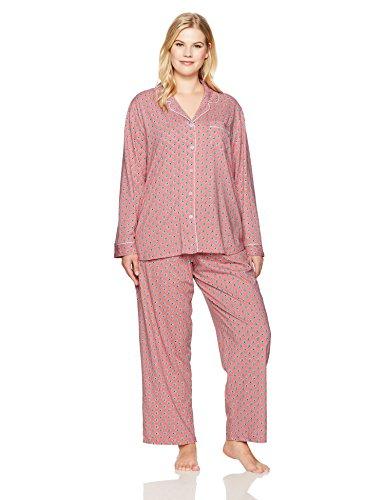 Karen Neuburger Plus Size Women's Pajamas Set Pj, Geo Spice Coral, 1X