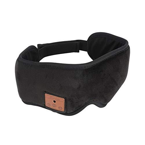 Hokaime Ayuda de sombreado de Gafas de música inalámbrica Bluetooth para Dormir Auricular Ocular y Escuchar música Ayuda para Dormir, Negro
