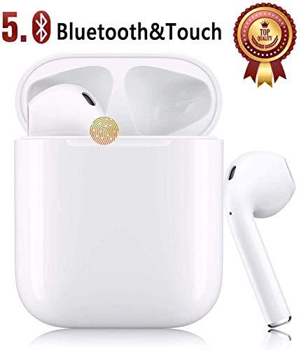 Auricular Bluetooth 5.0, Auricular inalámbrico Blanco, micrófono y Caja de Carga incorporados, reducción del Ruido estéreo 3D HD(para Auriculares Apple Airpods/Android/iPhone/Samsung/Huawei)