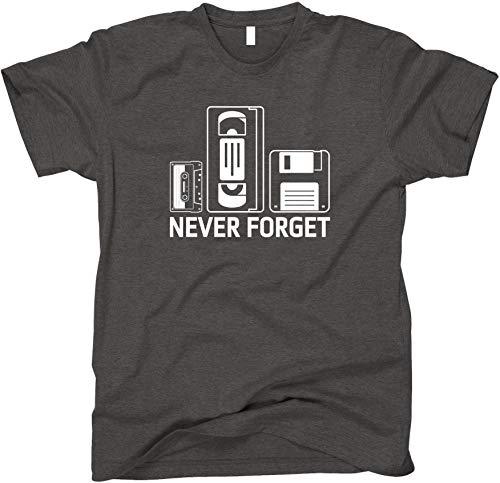 GunShowTees Never Forget Retro Cassette Tape VCR Floppy Disk Shirt, Large, Dark Heather