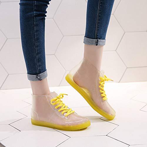 Bottes De Pluie Simples,Chaussures Lacées Jaunes Imperméables De Bottes Légères Transparentes Imperméables Appropriées Au Travail Quotidien Occasionnel Occasionnel De Loisirs De Mode, 38