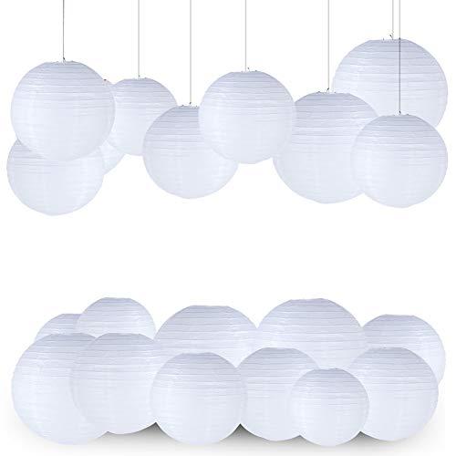 LISOPO Lampions Papierlaterne 12 Stück Weiße Papier Laterne Lampenschirm Lampion Runde Laterne Papierlampions zum Dekorieren von Leuchten Dekoration