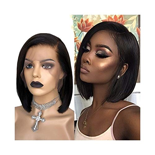 LEZDPP Short Bob 13x6 Lace Wig Natural Black Side Part Straight Bob Lace Front Wig Baby Hair Human Remy Hair Black Woman Hairpieces (Size : 16 inches)