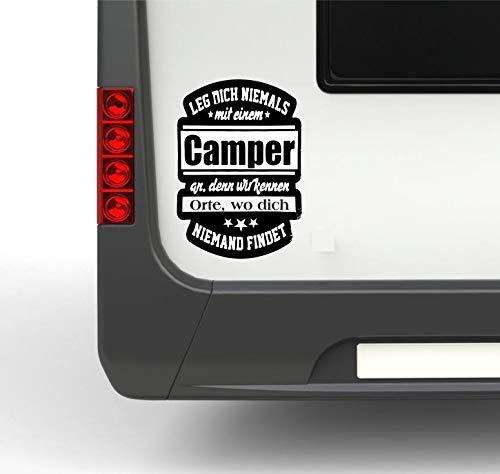 Pegatina Promotion Wohnmobil Wohnwagen Aufkleber Lustiger Spruch Typ1 ca 30cm Leg Dich Niemals mit einem Camper an… Sticker Autoaufkleber