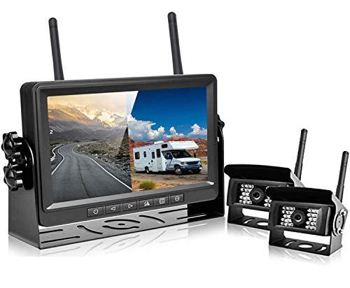Podofo Digitale Retrocamera Auto Camper Wireless FHD 1080p 2x Telecamera Retromarcia Kit Impermeabile IP69 con 7 Pollici Monitor Posteriore Auto Per Camion/Camper/Rimorchi/Bus
