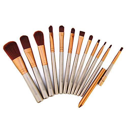 Maquillage Pinceaux, Brosses De Maquillage Boîte En Fer Professionnel 12Pcs Cosmétiques Pour La Fondation Kabuki Fard À Joues Blending Fard À Paupières Correcteur Brosses Cosmétiques Set,Gris