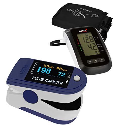 Pulsoximeter PULOX PO-200 Solo Blau Set mit Blutdruckmessgerät BMO-120
