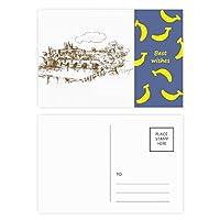チャールズ橋プラハチェコ共和国のランドマーク バナナのポストカードセットサンクスカード郵送側20個